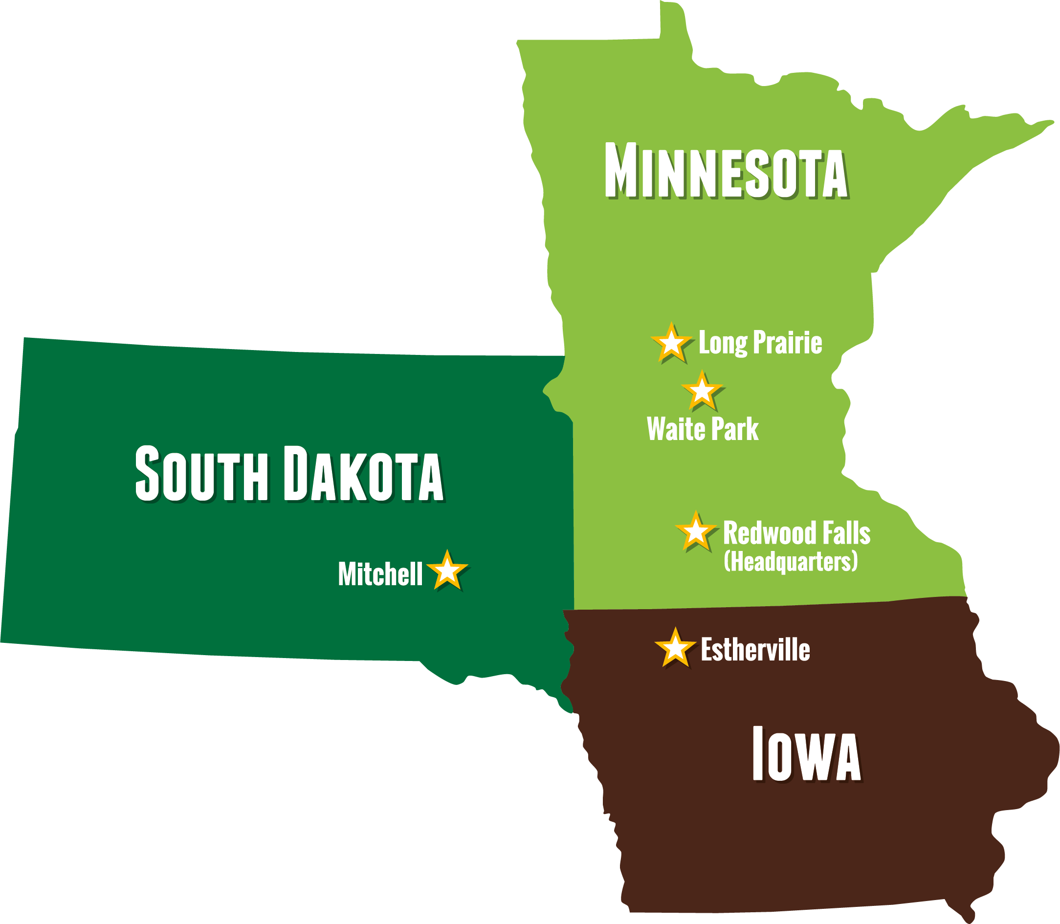 Minnesota, Iowa, North Dakota and South Dakota locations